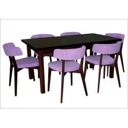 Столовая группа Стол ТИС-11 + Мягкий стул Франо (6 шт) (под заказ)