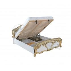 Спальня Ева белый глянец/золото Кровать 1,60*2,00 с подъемным механизмом