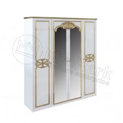 Спальня Ева белый глянец/золото Шкаф 4Д с зеркалами