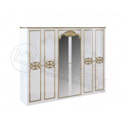 Спальня Ева белый глянец Шкаф 6Д с зеркалами