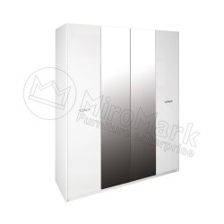 Спальня Империя белый глянец Шкаф платяной 4ДВ  с зеркалами