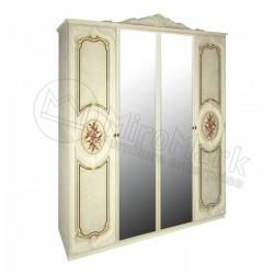 Спальня Реджина радика беж Шкаф 4ДВ с зеркалами
