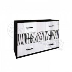 Спальня Терра белый глянец/черный мат Комод 3Ш