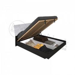 Спальня Терра белый глянец/черный мат Кровать 1,60*2,00 мягкая спинка  с подъемным механизмом