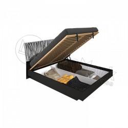 Спальня Терра белый глянец/черный мат Кровать 1,60*2,00 с подъемным механизмом