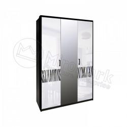 Спальня Терра белый глянец/черный мат Шкаф 3 ДВ с зеркалами