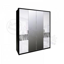 Спальня Терра белый глянец/черный мат Шкаф 4 ДВ с зеркалами