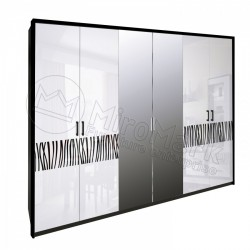 Спальня Терра белый глянец/черный мат Шкаф 6 ДВ с зеркалами
