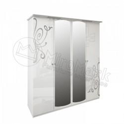 Спальня Богема белый глянец Шкаф 4 ДВ с зеркалами