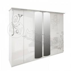 Спальня Богема белый глянец Шкаф 6 ДВ с зеркалами