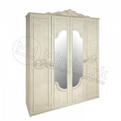 Спальня Олимпия радика беж Шкаф 4 ДВ с зеркалами (без шухляд)