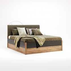 Спальня Рамона дуб крафт-земля Кровать 1,60*2,00 без каркаса