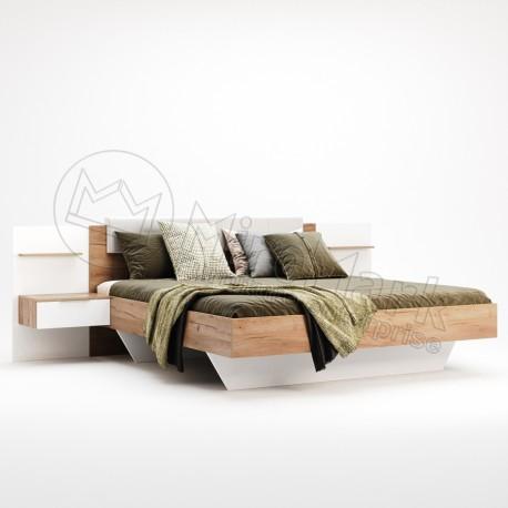 Спальня Asti дуб крафт-глянец белый кровать 1,60*2,00 с тумбами без каркаса
