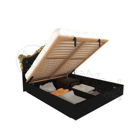 Спальня Дженифер черный глянец Кровать 1,60*2,00 мягкая спинка с подъемным механизмом