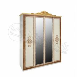 Спальня Дженифер радика беж Шкаф 4ДВ с зеркалами