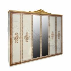 Спальня Дженифер радика беж Шкаф 6Д с зеркалами