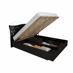 Спальня Богема черный глянец Кровать 1,60*2,00 с подъемным механизмом