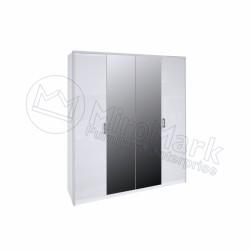 Спальня Рома белый глянец Шкаф 4ДВ с зеркалом